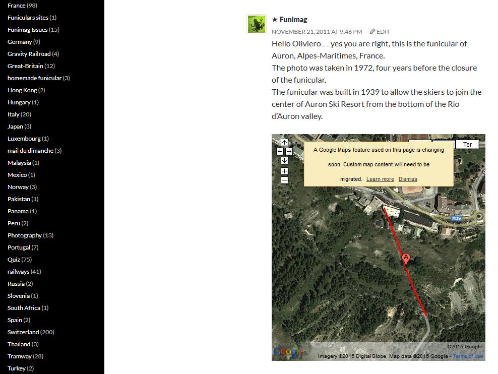 Warning message appearing on maps created by old Google Maps / Message d'information affiché sue les maps créées avec l'ancienne version de Google Maps