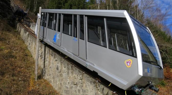 Les nouvelles voitures du funiculaire Châtelard – Emosson