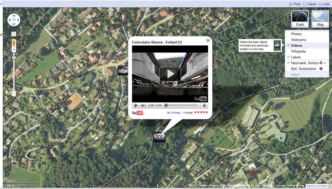 """Vidéo """"Funiculaire Bienne - Evilard (1)"""" dans Google Maps"""
