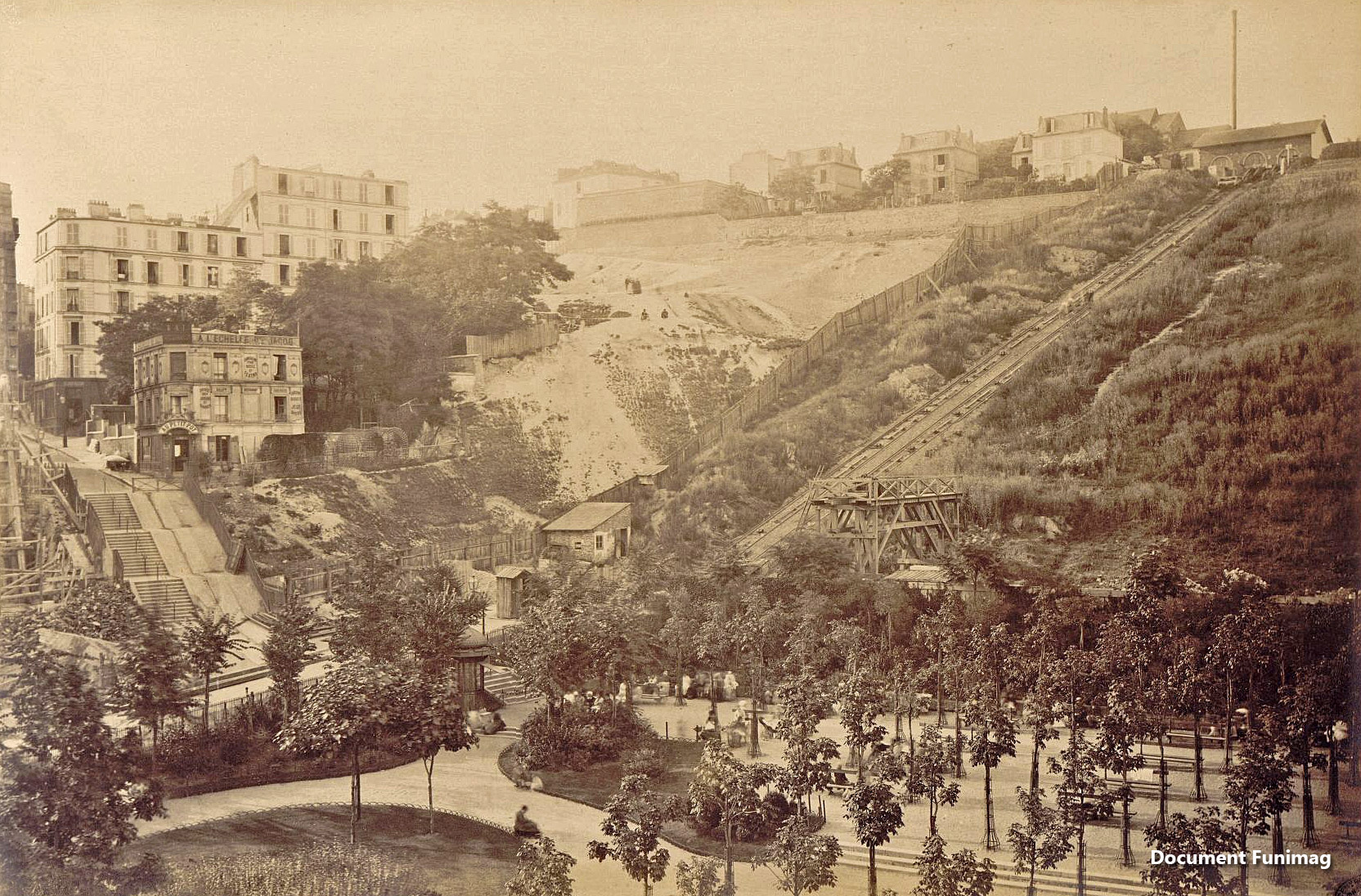 Vue générale du funiculaire en 1877 / General view of the funicular in 1877