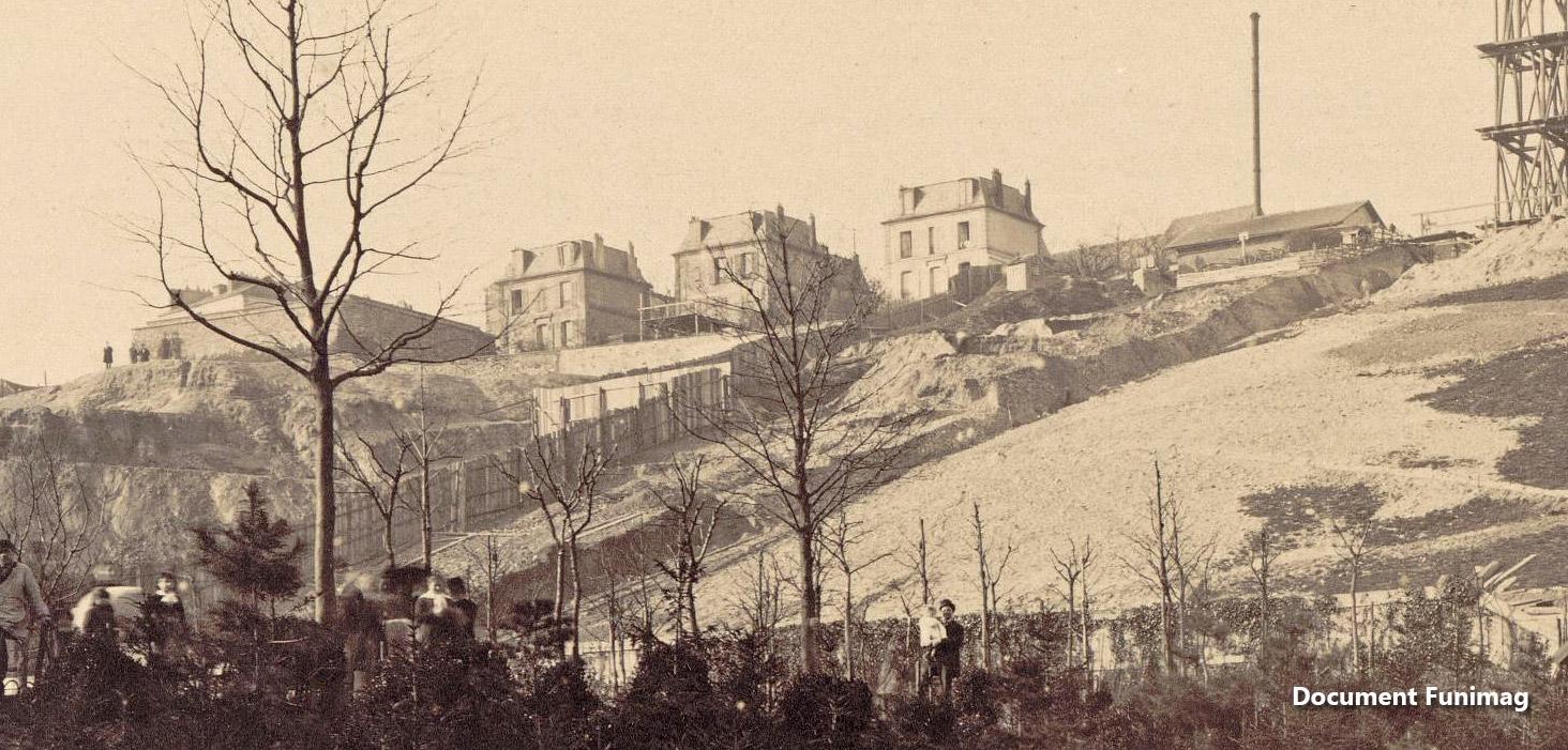 Le chantier de la basilique le 10 mars 1882 / Construction of the basilica on March 10, 1882